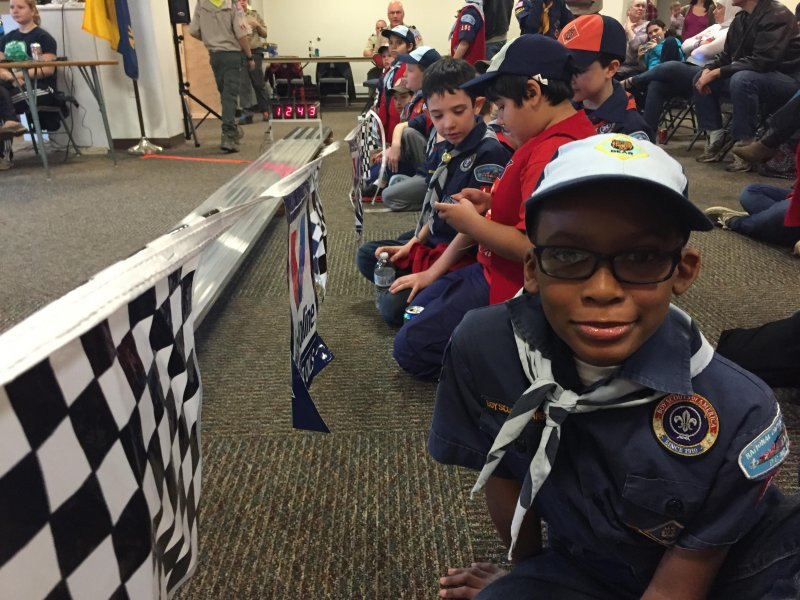 Little Kent 2 participating in the Cub Scout Pack 150 Pinewood Derby